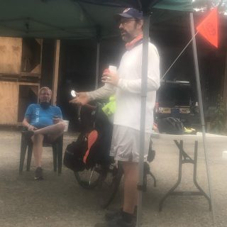 """#bikecamping #biketouring  Workshop attendees learn from an expert cross-country bike traveler, Bob. We listened to the poem AM Radio North America to get us in the """"zone"""" this morning."""